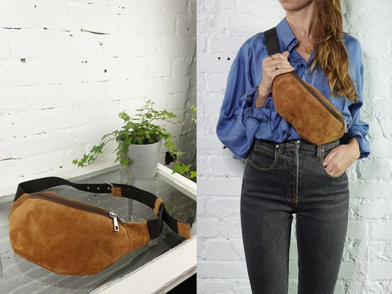 Bum Bag Suede Leather Belt Bag Women Fanny Pack Leather Waist Pack Hip Bag Vintage Clothing Leather Belt Bag Suede Leather Bum Bag BB19