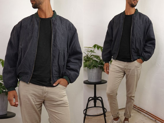 Silk Bomber Jacket Silk Jacket Black Silk Jacket Men Vintage Silk Oversize Jacket Mens Clothing Vintage Second Hand Vintage Clothing SJ17