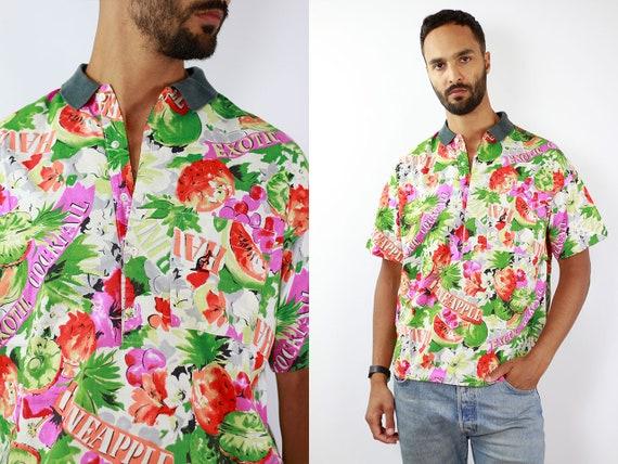 Australian Shirt Hawaii Shirt Button Shirt Hippie Australian Top Surfer Shirt Vintage Oxford Shirt Rainbow Shirt Surf Shirt Retro Shirt