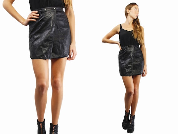Leather mini Skirt / High Waist Skirt / High Waisted Skirt / Midi Skirt  / Black mini Skirt / Leather Skirt Small / Black Mini Skirt