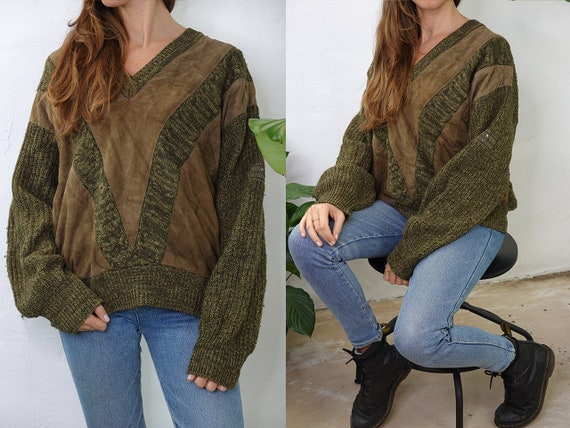 Wool Jumper Vintage Wool Sweater Check pattern Jumper Oversize Jumper Green Sweater Warm Wool Jumper Second hand Vintage Clothing WP265