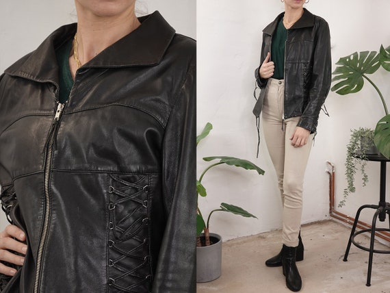 80s Leather Jacket Black Vintage Leather Jacket Retro 80s Biker Jacket Womens Leather Jacket Cropped Vintage Clothing Second Hand BLJ32