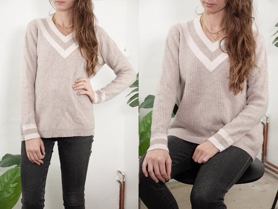 Vintage Wool Jumper Ribbed Cashmere Sweater Nude Jumper Knitted Sweater Womens Cashmere Jumper Warm Second Hand Vintage Clothing WP306