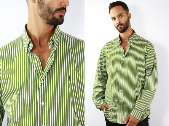 RALPH LAUREN Shirt Ralph Lauren Button Up Green Shirt Mens Shirt Striped Vintage Ralph Lauren Vintage Shirt Oxford Shirt Polo Ralph Lauren