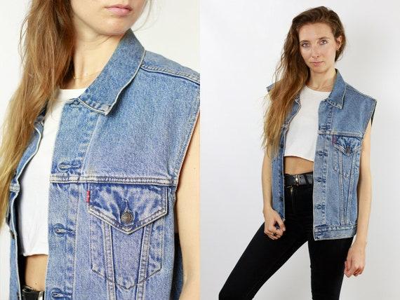 Denim Vest Jean Vest Levis Denim Vest Levis Jean Vest Vintage Denim Vest Vintage Jean Vest 80s Denim Vest 80s Vintage Clothing DJ89