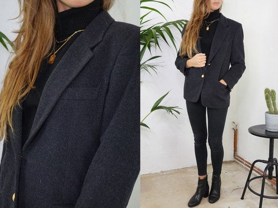 Wool Blazer Oversize Cashmere Blazer Grey Blogger Tweed Blazer Wool Coat Cashmere Jacket Womens Clothing Vintage Clothing Second Hand BL1