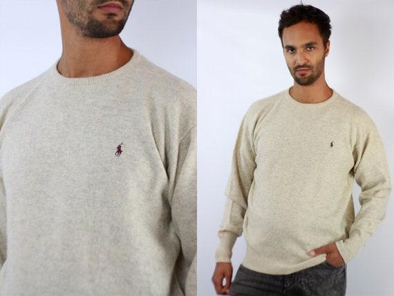 RALPH LAUREN Jumper Ralph Lauren Sweater  Ralph Lauren Men  Polo Ralph Lauren  Beige Wool Jumper  Beige Wool Sweater Vintage Jumper Wp89