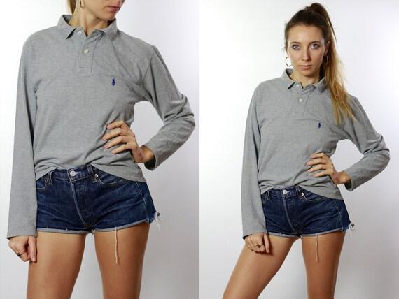 Ralph Lauren Poloshirt Vintage Polo Shirt Ralph Lauren T Shirt Grey Polo Shirt Longsleeve Poloshirt 90s Poloshirt 90s Polo Shirt HE80