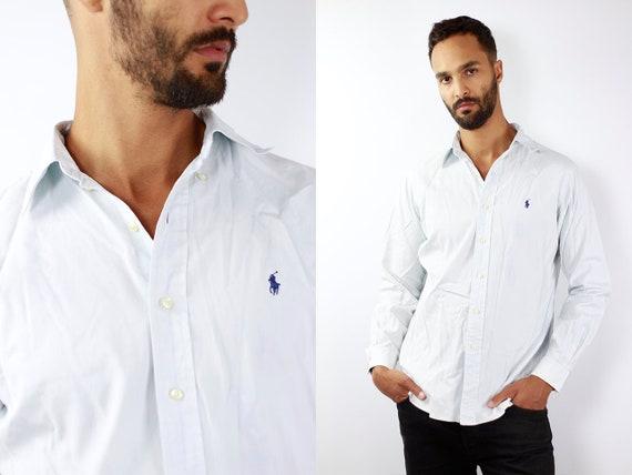 RALPH LAUREN Shirt Ralph Lauren Button Up Blue Shirt Mens Shirt Blue Vintage Ralph Lauren Vintage Shirt Oxford Shirt Polo Ralph Lauren 90s