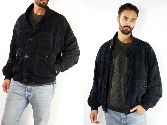 Blue Suede Jacket Suede Bomber Jacket Suede Jacket Blue Vintage Suede Jacket 80s Suede Jacket Bomber Jacket Suede Jacket Leather SUJ5