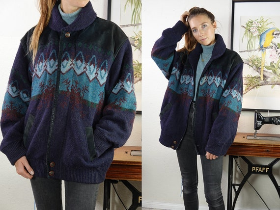 Sherpa Jacket Aztec Jacket Aztec Coat Sherpa Coat Shearling Jacket Sheepskin Jacket Blue Shearling Coat Sheepskin Vintage Clothing  SH49