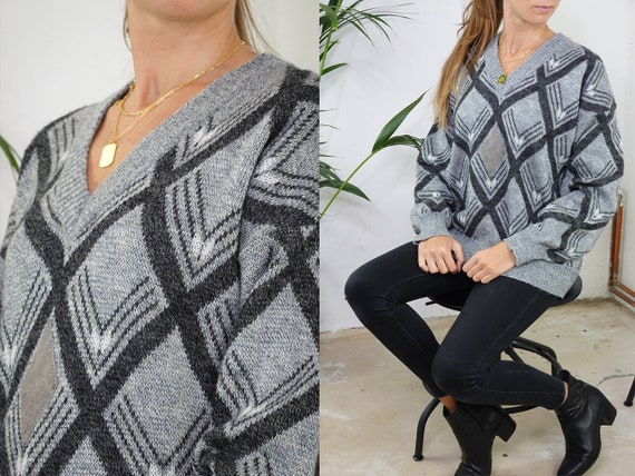 Wool Jumper Vintage Wool Sweater Check pattern Jumper Oversize Jumper Grey Sweater Warm Wool Jumper Second hand Vintage Clothing WP213
