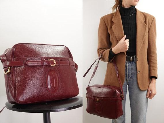 Cartier Bag Leather Bag Leather Shoulder Bag Vintage Bag Grab Bag Crossbody Bag Red Leather Bag Red Grab Bag Vintage Clothing BAG20