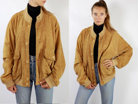 Vintage Suede Jacket Vintage Suede Bomber Suede Bomber Jacket Brown Suede Jacket Brown Bomber Jacket Soft Suede Jacket Large Suede WLJ85