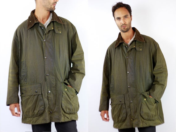 BARBOUR Wax Coat BORDER Wax Jacket Vintage Barbour Coat Parka Green Coat Barbour Vintage Jacket Green Wax Coat Barbour BORDER Jacket C101