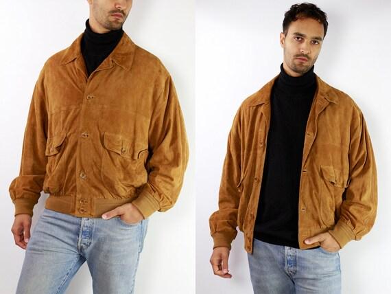 Vintage Suede Jacket Vintage Suede Bomber Suede Bomber Jacket Brown Suede Jacket Brown Bomber Jacket Soft Suede Jacket Large Suede SUJ24