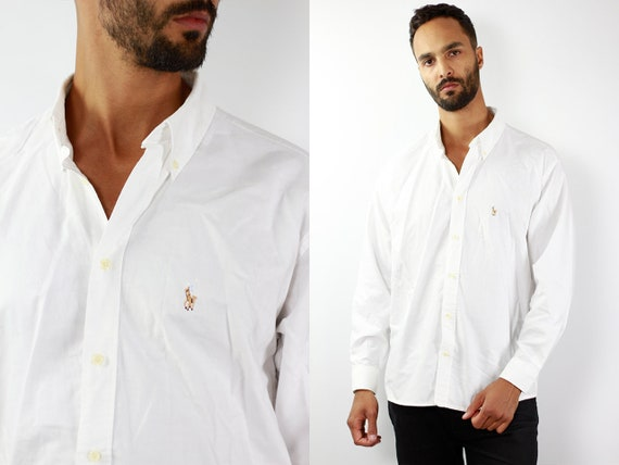 RALPH LAUREN Shirt Ralph Lauren Button Up White Shirt Mens Shirt White Vintage Ralph Lauren Vintage Shirt Oxford Shirt Polo Ralph Lauren 90s