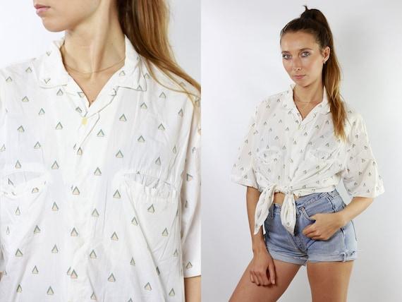 80s Retro Shirt Geometric Shirt Tribal Tshirt Vintage Tshirt Oversized Shirt Women Shirt Vintage Shirts Summer Blouse Womens Blouse HE92