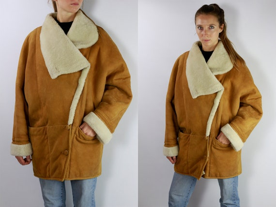Shearling Jacket / Shearling Coat / Sheepskin Jacket / Sheepskin Coat / Vintage Shearling Brown Shearling Coat Brown Shearling Jacket SH20