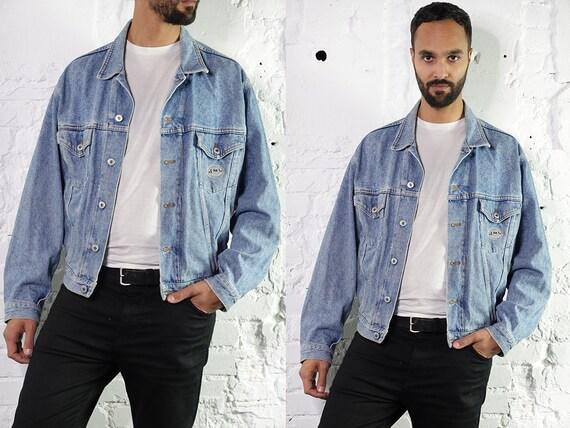 SCHOTT Denim Jacket 80s Jean Jacket Pilot Jacket Grunge Oversize Jacket Large Denim Jacket Vintage Clothing Second Hand Mens Clothing DJ235