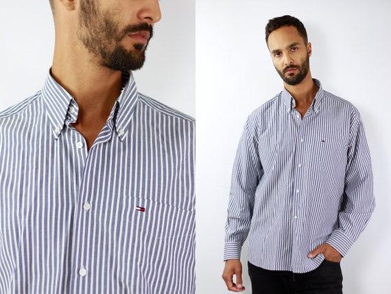 Tommy Hilfiger Shirt Tommy Hilfiger Button Up Blue Shirt Mens Shirt Striped Vintage Tommy Hilfiger Vintage Shirt Oxford Shirt Tommy Hilfiger