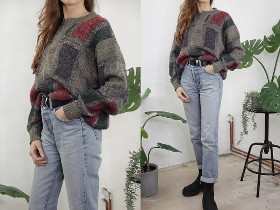Wool Jumper Vintage Wool Sweater Checked pattern Jumper Oversize Jumper Green Sweater Warm Wool Jumper Second hand Vintage Clothing WP295