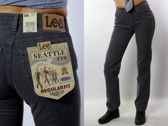 Corduroy Jeans / Corduroy Pants / High Waist Jeans / High Waist Pants / Grey Corduroy Pants / Lee Corduroy Pants / Lee Corduroy Jeans HS10