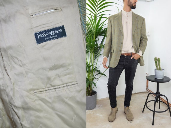 YVES SAINT LAURENT Blazer Vintage Yves Saint Laurent Jacket Vintage Blazer Wool Checked Blazer Large Vintage Clothing Second Hand BL11