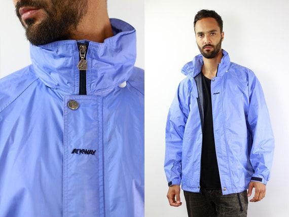 K-Way Jacket Blue Rain Jacket Vintage Rain Jacket Kway Jacket K-Way Coat Windbreaker Kway Jacket Men Kway Vintage Raincoat Blue Vintage Kway