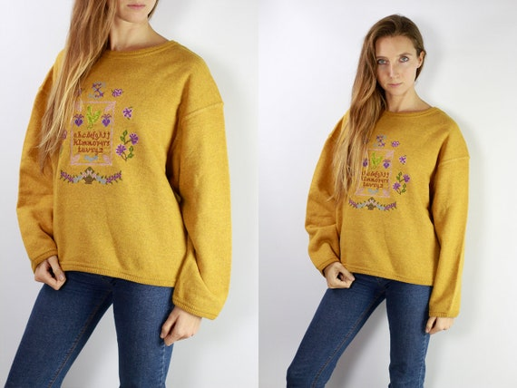 Vintage Yellow Jumper Yellow Sweater Vintage Jumper Vintage Sweater Warm Sweatshirt Warm Jumper 90s Jumper 90s Sweater Yellow Sweats P24