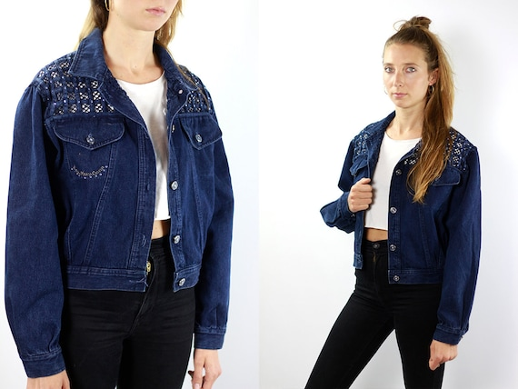 Denim Jacket Vintage Denim Jacket Strass Jean Jacket 90s Denim Jacket Jean Jacket Blue Jean Jacket Denim Jacket Grunge Bianca Maria JJ203