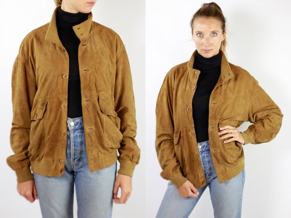 Vintage Suede Jacket Vintage Suede Bomber Suede Bomber Jacket Brown Suede Jacket Brown Bomber Jacket Soft Suede Jacket Large Suede WLJ67