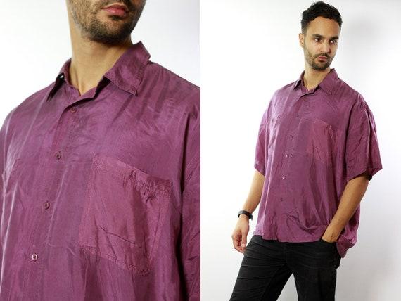 Silk Shirt Men / Silk Button Up / Silk Button Down / Mens Silk Shirt / 90s Silk Shirt / Silk Mens Top / Red Mens Shirt Red Silk Shirt HE36