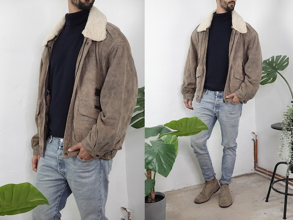 80s Leather Jacket Vintage Brown Leather Jacket Sherpa Jacket 80s Mens Leather Coat Fashion Vintage Clothing Second Hand BLJ23