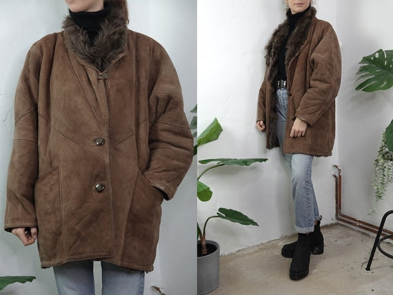 Shearling Coat Sheepskin Jacket Sheepskin Coat Shearling Jacket Vintage Shearling Coat Sherpa Jacket Brown Second Hand Vintage Clothing SH77