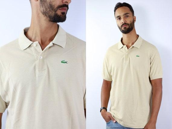 LACOSTE Poloshirt Lacoste Polo Shirt Lacoste Beige Poloshirt Lacoste Vintage Top 90s Top Lacoste Top Lacoste T-Shirt 90s Top Lacoste Shirt