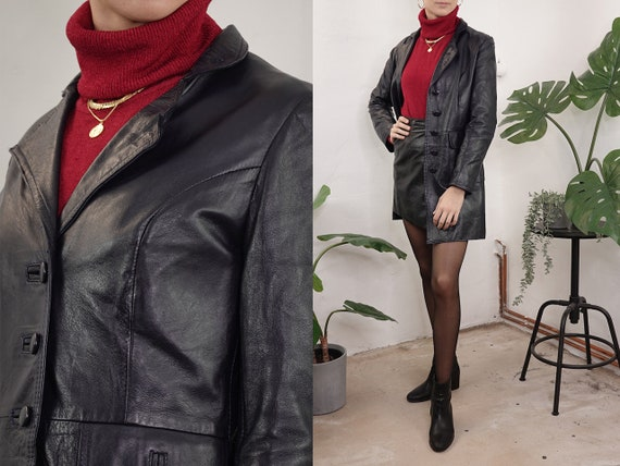 80s Leather Jacket Vintage Black Leather Jacket Belt Retro Leather Coat Womens Leather Blazer Vintage Clothing Second Hand BLJ17