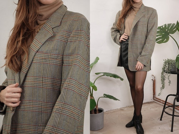 Checked tweed blazer Wool bouclé Blazer Oversize Beige Blogger Tweed Wool Coat Checked Jacket Womens Clothing Vintage Second Hand BL22