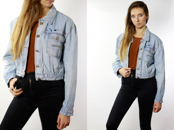 Vintage Denim Jacket Vintage Jean Jacket Blue Denim Jacket Cropped Denim Jacket Cropped Jean Jacket Grunge Denim Jacket Small DJ73