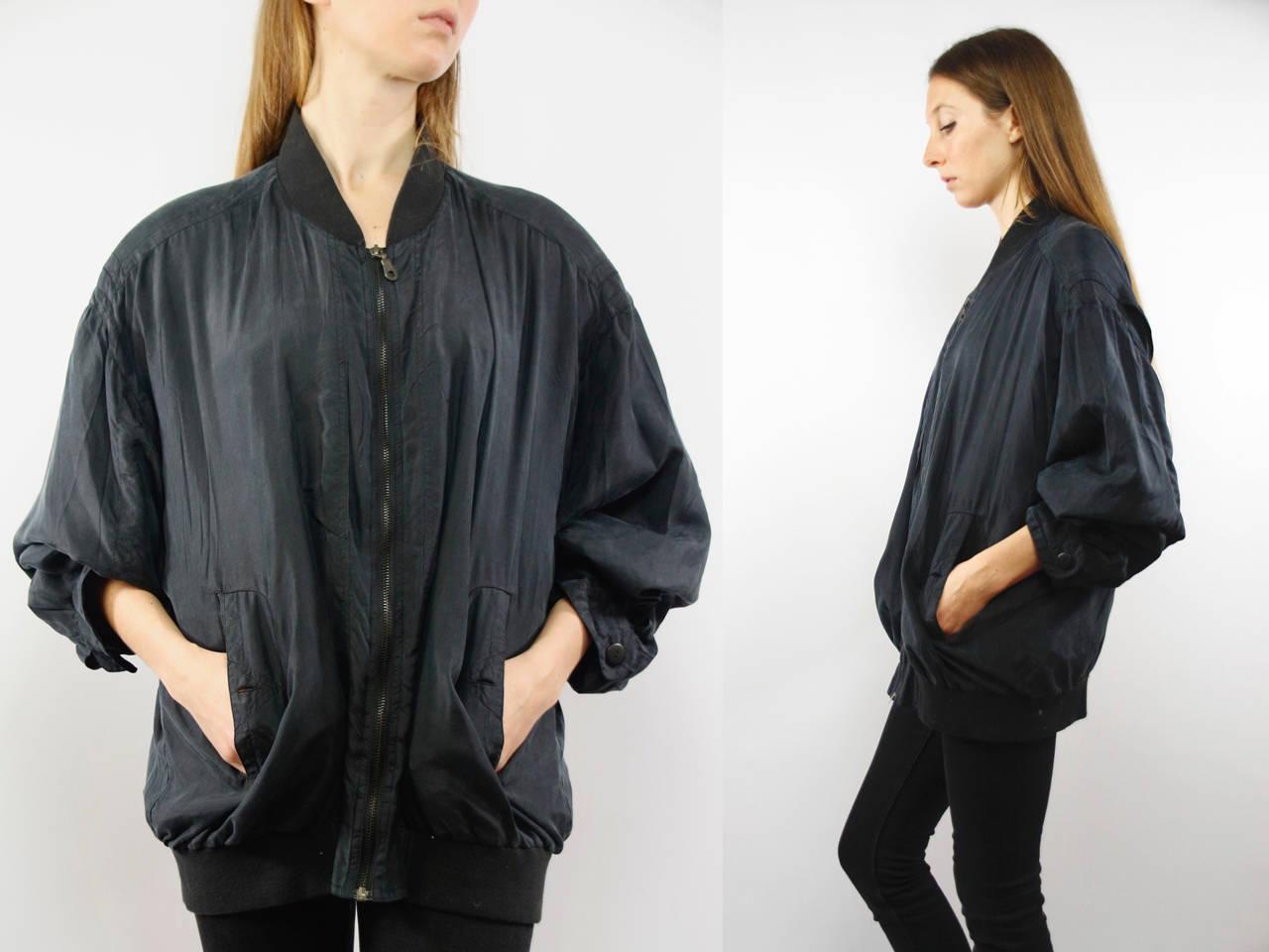 d7b90ee3a Balloon Jacket Silk / Silk Jacket Black / Oversize Silk Jacket / Baseball  ...