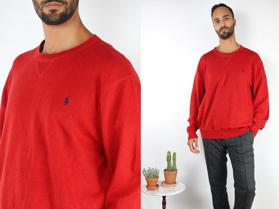 RALPH LAUREN Jumper Ralph Lauren Sweater Polo Ralph Lauren Red Jumper Red Sweater Vintage Jumper Vintage Cotton Jumper Clothing WP112