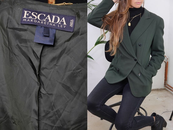 ESCADA Blazer Oversize Designer Blazer Green Blogger Tweed Blazer Escada Jacket Womens Clothing Vintage Clothing Second Hand BL2
