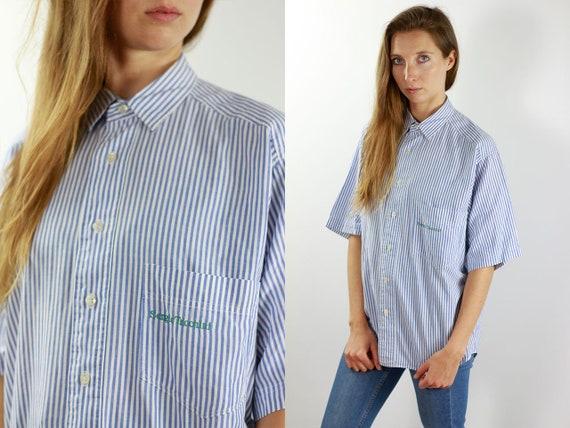 Sergio Tacchini Shirt Sergio Tacchini Top 90s Shirt Striped Shirt Sergio Tacchini Shirts Vintage Button Vintage Shirt Striped Blue Top T38