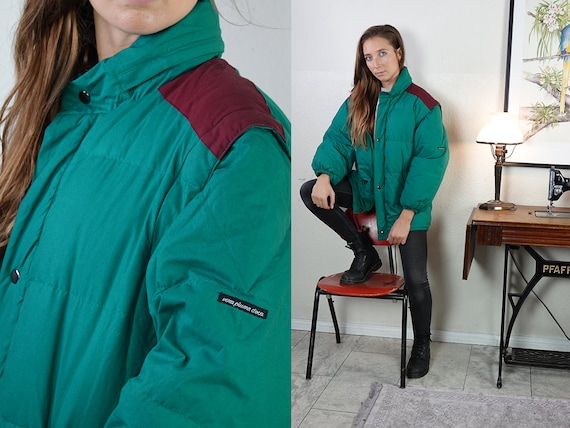Puffer Jacket Green Down Jacket Green Vintage Bomber Jacket Vintage Jacket Green Oversize Puffer Womens Jacket Vintage Clothing  JA132