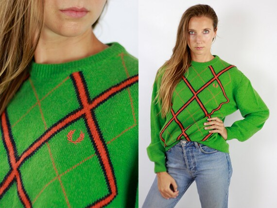 FRED PERRYSweater Fred Perry Sweatshirt Fred Perry Jumper Green Jumper Fred Perry Vintage Green Wool Sweater  Cashmere Jumper WP86