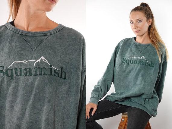 Vintage Sweatshirt 90s Sweatshirt Oversize Sweatshirt Vintage Hoodie 90s Hoodie Oversize Hoodie Green Jumper Embroidered Sweater SW141
