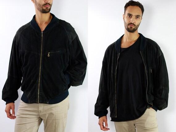 Black Bomber Jacket Suede Bomber Jacket Suede Black Vintage Suede Jacket 80s Suede Jacket Bomber Jacket Suede Jacket Leather Jacket WLJ60