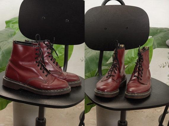 Dr Martens Shoes Leather Boots Dr Martens Boots Red Leather Boots Biker Boots Vintage Clothing Second Hand Vintage Fashion S15