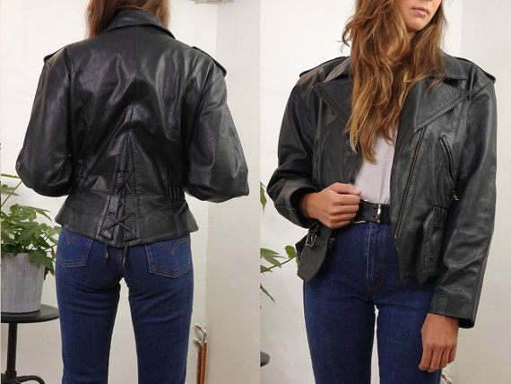 80s Leather Jacket Vintage Black Leather Jacket Re