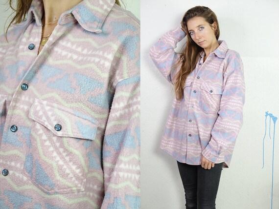 90s Fleece Jumper Fleece Shirt Vintage Jumper Vintage Sweatshirt Fleece Sweatshirt Teddy Jumper Vintage Clothing Tribal Jumper FS13